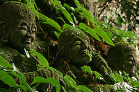"""Monju Temple Boddhisatvas - Moss Covered Jizos - """"Jizo"""" images and statues are popular in Japan as Bodhisattva who console beings awaiting rebirth and travelers. As such they are often found along roadsides, paths or even street corners."""