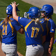 Hofstra University Infielder Brittany Allocca (21) celebrates with her teams after crossing home plate Saturday, April 16, 2016, at Delaware softball stadium in Newark, Delaware.