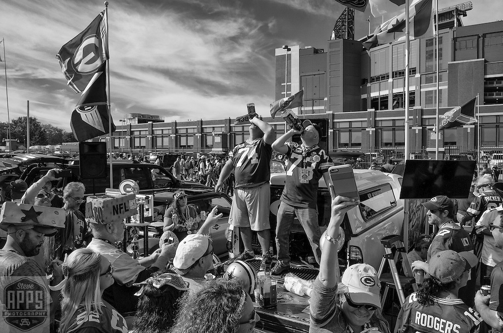 Tailgating and partying outside of Lambeau Field in Green Bay, Wisconsin.