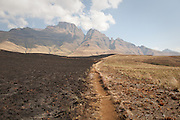 Walking trail through scorched earth, Drakensberg Mountains, South Africa.