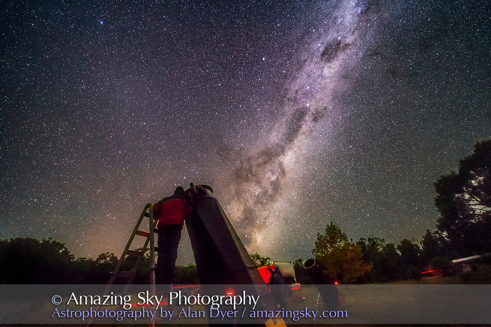 An observer (me!) at one of the large Dobsonian telescopes at the 2017 OzSky Star Party while the Dark Emu rises in the east in the sky.as a backdrop. <br /><br />A single 25-second exposure at f/2.5 with the 14mm Rokinon lens and Canon 6D at ISO 6400.