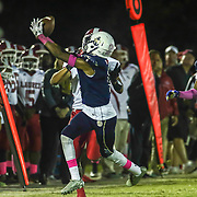 Delaware Military Academy corner back Corahn	Alleyne (1) intercepts the pass during a Week 8 DIAA football game between Laurel and Delaware Military Academy Saturday, Oct. 29, 2016, at Baynard Stadium in Wilmington.