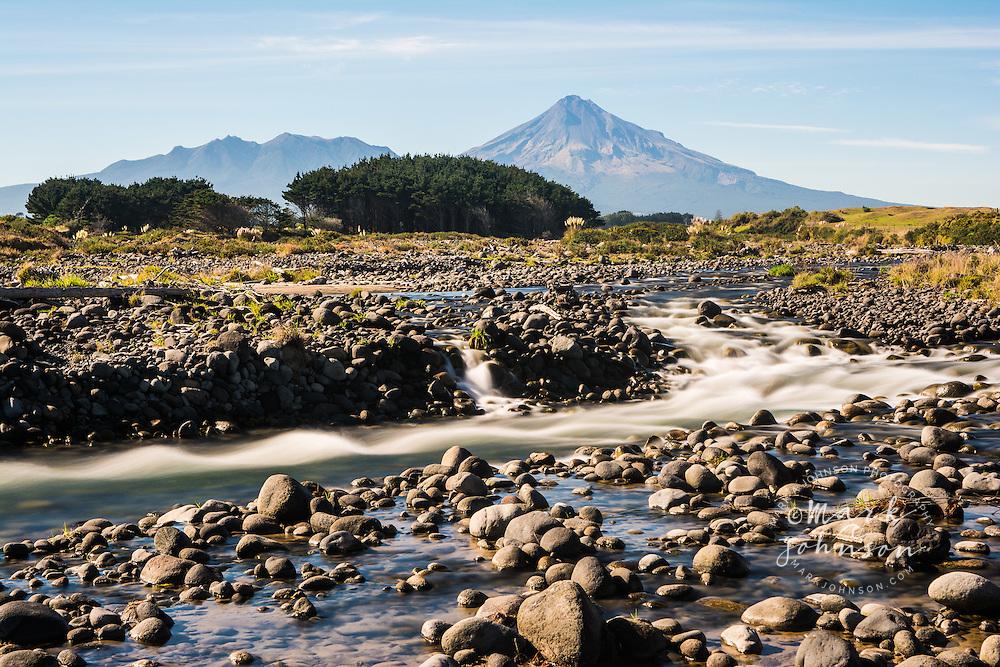 Stony River & Mt. Taranaki, Egmont National Park, North Island, New Zealand