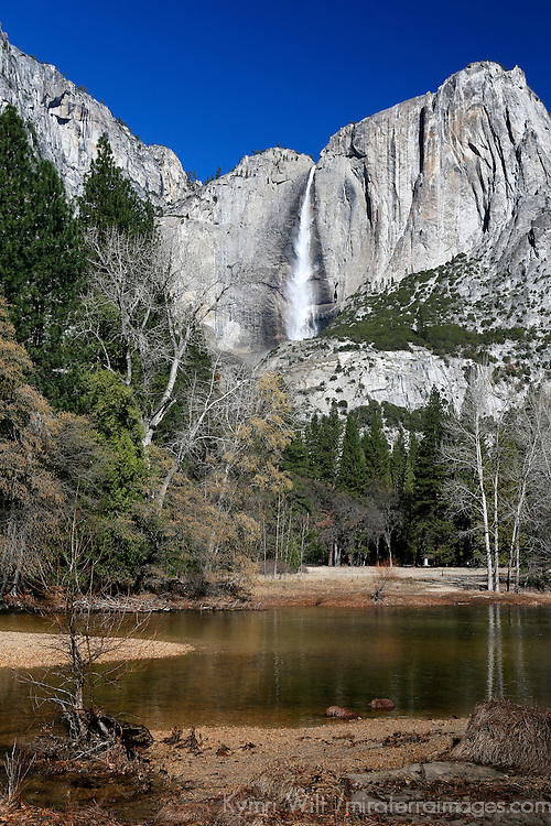 USA, California, Yosemite National Park. Yosemite Falls and landscape of Yosemite Valley.