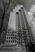 Black & White views of skyscrapers in Vancouver's Downtown District; the city is often used in movies and TV shows as New York City