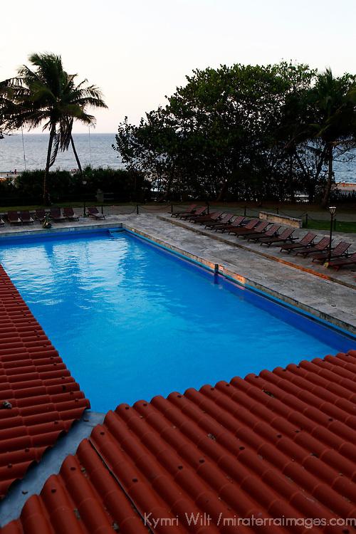 Central America, Cuba, Havana. Pool of Hotel Nacional de Cuba, an iconic landmark in Havana.