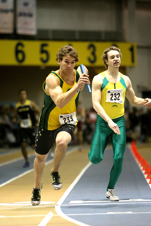Windsor, Ontario ---14/03/09--- Justin Baker of  the University of Regina competes in the Men's 4x400m Relay at the CIS track and field championships in Windsor, Ontario, March 14, 2009..Sean Burges Mundo Sport Images