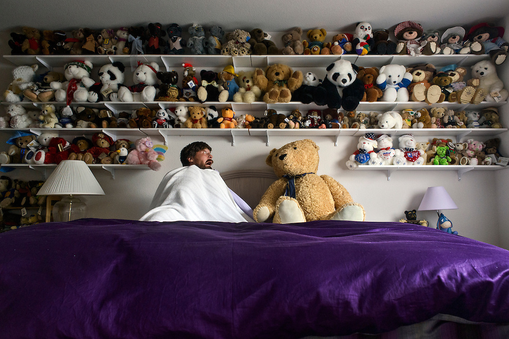 Rule number one for jumping on beds: You only jump on hotel beds. This is Grandpa Roth &amp; Wendi's &quot;Bear Room.&quot; The bed is one of those adjustable craftmatic beds, so, definitely no jumping on one of those guys. Also, the bears are terrifying!<br />