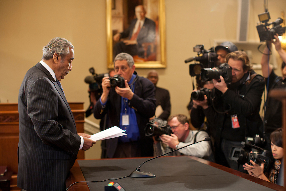 Rep. Charles Rangel (D-NY) awaits the beginning of a hearing of the House ethics committee for ethics violations on Capitol Hill on Thursday, November 18, 2010 in Washington, DC.