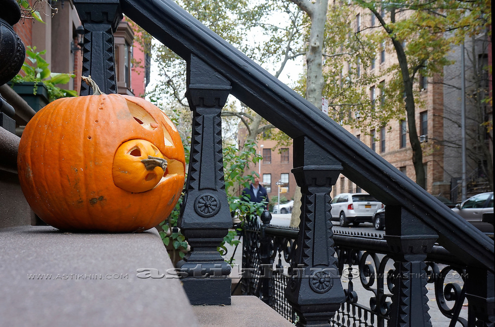 Porch of a house in Brooklyn decorated for Halloween.