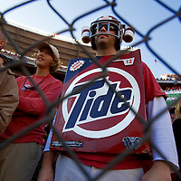 TUSCALOOSA, AL -- October, 24, 2009 -- University of Alabama fan Ben Reese of Warner Robins, Georgia, dressed as a box of laundry detergent as he watches his team take on the University of Tennessee during the Crimson Tide's 12-10 victory over the Volunteers at Bryant-Denny Stadium in Tuscaloosa, Ala., Saturday, Oct. 24, 2009.