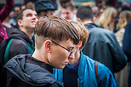"""01/05/2015 – Berlin, Germany: A girl during the Myfest street festival. """"Myfest"""" takes place in district SO 36, the traditional centre of riots that usually occur during May Day celebrations and it was organized to decreased the violence caused by Revolutionary May Day Demonstrations.  The radical left wing criticises such events claiming that it is pretended to pacify social conflicts and to ban radical demonstrations. The International Workers Day is a celebration of laborers and the working classes that is promoted by the international labor movement, anarchists, socialists, and communists and occurs every year on May Day. (Eduardo Leal)"""