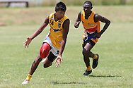 POTCHEFSTROOM, SOUTH AFRICA - JANUARY 28, Elijah Howard (Waterford, WA) of the Australian Boomerangs during the AFL Game 1 match between the Flying Boomerangs and South African Lions under 18's at Mohadin Cricket Ground on January 28, 2013 in Potchefstroom, South Africa.Photo by Roger Sedres / Image SA