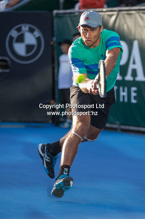 Artem Sitak on his way to winning the mens singles final in the Pascoes NZ Tennis Champs held at the ASB Tennis Arena in Auckland. <br /> Credit; Peter Meecham/ www.photosport.nz