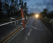 Downed power lines on County Road 101 near the Industrial Park as a result of an overnight storm in Oxford, Miss. on Wednesday, April 27, 2011.