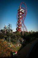 UK artist Anish Kapoor's ArcelorMittal Orbit sculpture on the Olympic Park built for the London 2012 Olympic Games.
