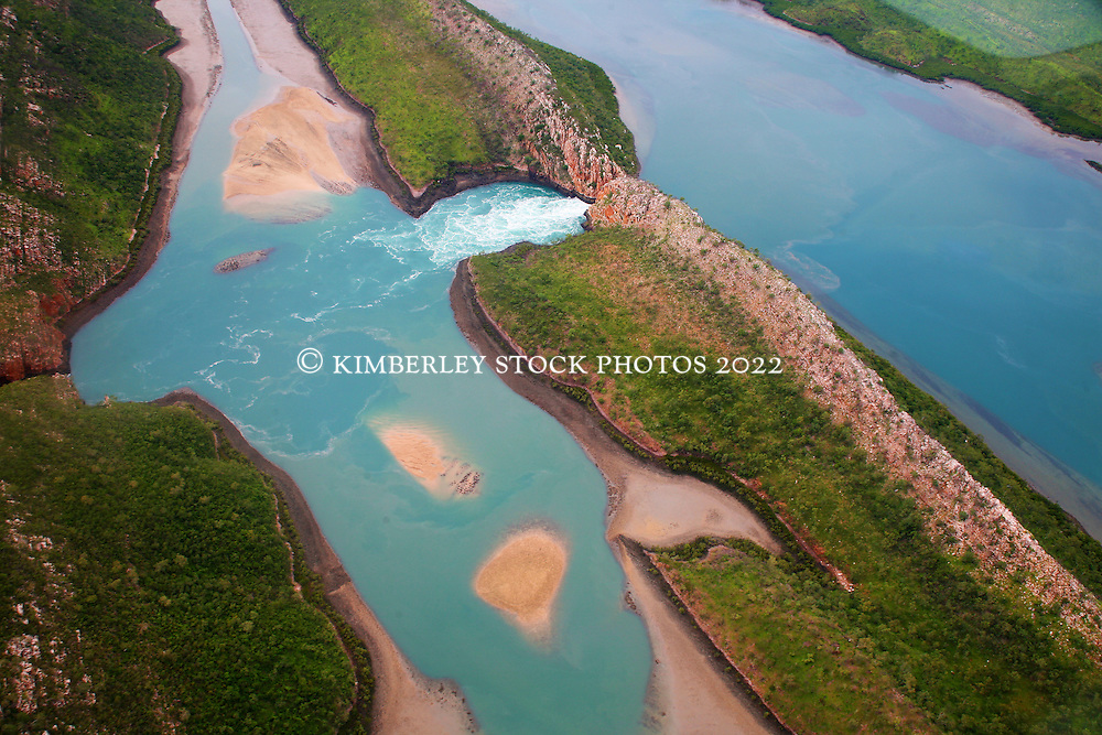 Water flows through the Horizontal Waterfalls in Talbot Bay on a rising tide.
