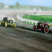 Vintage Image: Tinted photo of race cars  on a dirt track circa 1910.
