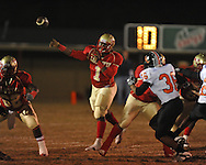 Lafayette High's Jeremy Liggins (1) vs. Leake Central in playoff high school football action in Oxford, Miss. on Friday, November 4, 2011. Lafayette won 46-7.