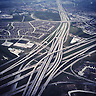 Roads intersect as they slice through the North Texas landscape near Dallas, Texas