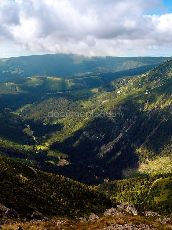 The view from Snezka, Krkonose, Czech Republic.