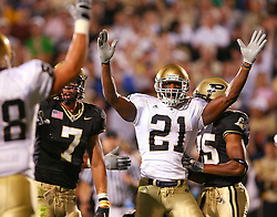 Oct. 1, 2005; West Lafayette, IN, USA; Notre Dame running back Darius walker runs the ball in the first half of Notre Dame's game against Purdue at Ross-Ade Stadium in West Lafayette, IN. Notre Dame won 36-17. Mandatory Credit: Photo By Matt Cashore-US PRESSWIRE Copyright (c) 2005 Matt Cashore