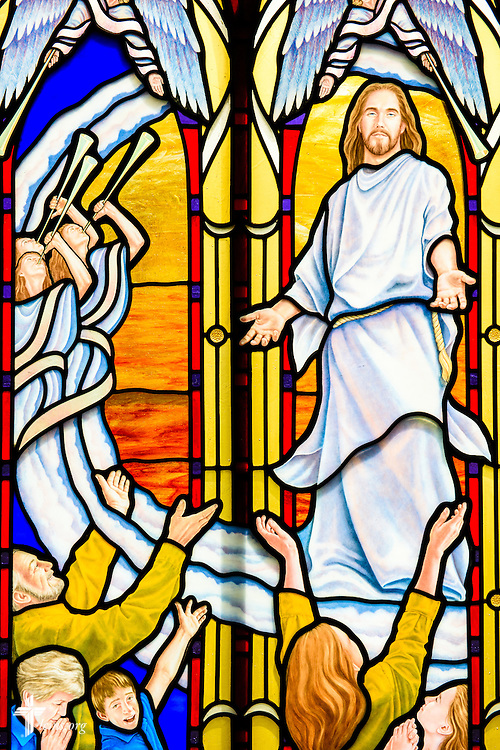 Stained glass at St. Paul Evangelical Lutheran Church in Columbus, Ind., depicts Jesus Christ, photographed Sunday, April 10, 2016. LCMS Communications/Erik M. Lunsford