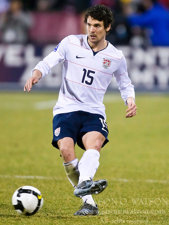 United States defender Heath Pearce (15).  The United States men's soccer team defeated the Mexican national team 2-0 in CONCACAF final group qualifying for the 2010 World Cup at Columbus Crew Stadium in Columbus, Ohio on February 11, 2009.