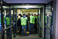 28 January 2016, Milan, Italy - Supporters of Lega Nord party arrive at the MiCo Palace to participate the first Europe of Nations and Freedom (ENF) congress.
