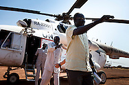 The UN head of mission in Abyei greets Ngok Dinka chiefs returning from a conference with the Missereyi over grazing rights to resolve the tensions in the area on Jan. 14, 2011.