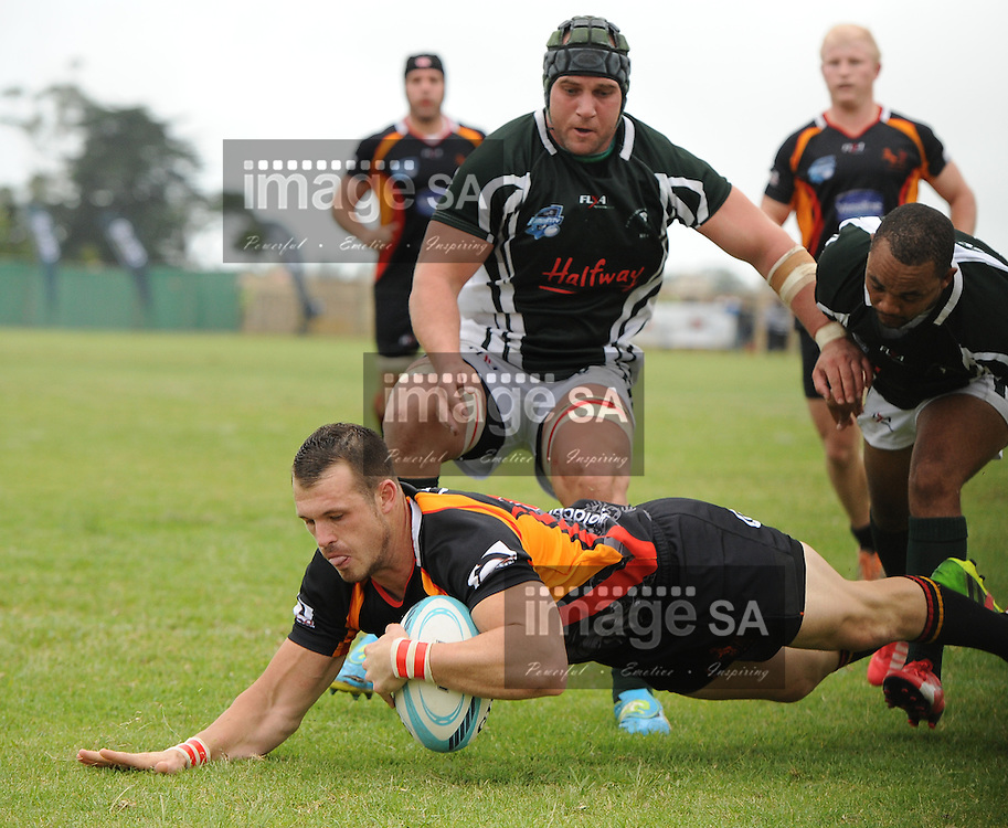 GEORGE, SOUTH AFRICA - Saturday 7 March 2015, Darren Rentzke of Vaseline Wanderers scores his try during the third round match of the Cell C Community Cup between Pacaltsdorp Evergreens and Vaseline Wanderers at Pacaltsdorp Sports Grounds, George<br /> Photo by Roger Sedres/ImageSA/ SARU