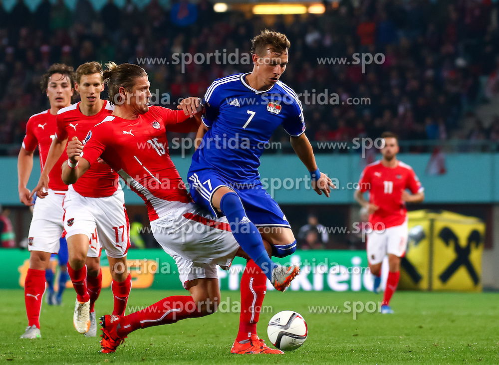 12.10.2015, Ernst Happel Stadion, Wien, AUT, UEFA Euro 2016 Qualifikation, Österreich vs Liechtenstein, Gruppe G, im Bild Sebastian Prödl (AUT), Marcel Büchel (LIE) // the UEFA EURO 2016 qualifier group G match between Austria and Liechtenstein at the Ernst Happel Stadion, Vienna, Austria on 2015/10/12. EXPA Pictures © 2015 PhotoCredit: EXPA/ Sebastian Pucher