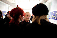"""Barbara Streisand in attendance of former US Secretary of State, Madeline Albright's opening reception of her exhibit and book release, """"Read MY Pins: StoriesFrom A Diplomat's Jewel Box"""", at the Museum of Art and Design Columbus Circle in New York. (Photo by Robert Caplin)"""