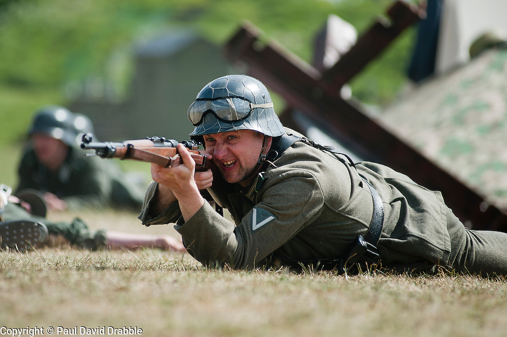 Reenactor portrays a panzer grenadier from the elite German Gro&szlig;deutschland Division during abattle Reenactment at Fort Paull near Hull May 2011 <br /> Image &copy; Paul David Drabble