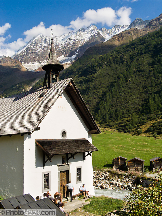 "Kuhmad Chapel dates from 1758 in Lötschental (or Loetschental) in the Valais canton of Switzerland, the Alps, Europe. UNESCO lists ""Swiss Alps Jungfrau-Aletsch"" as a World Heritage Area (2001, 2007)."