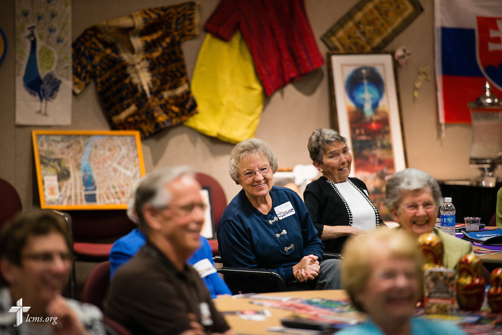 Lorna Rikkels reacts with others during a lighthearted moment at the volunteer luncheon in the International Center of The Lutheran Church–Missouri Synod on Thursday, April 16, 2015, in Kirkwood, Mo. LCMS Communications/Erik M. Lunsford