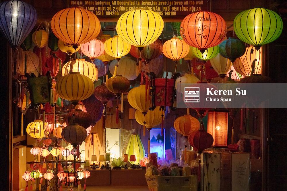 Night view of a lantern shop, Hoi An, Vietnam