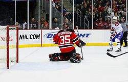 Jan 2, 2009; Newark, NJ, USA; Montreal Canadiens left wing Max Pacioretty (67) scores his first NHL goal beating New Jersey Devils goalie Scott Clemmensen (35) during the first period at the Prudential Center.
