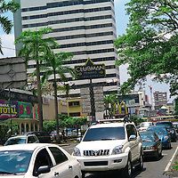Pictured: Via Espan?a shooping area Street scene. Downtown Panama City. BNP, Banco Nacional de Panama,