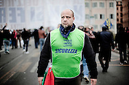 ROME. A SECURITY GUARD AT THE PARADE OF PEOPLE OF FREEDOM PARTY