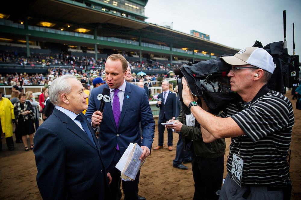 February 07 2015: Simon Bray of Fox Sports 1interviews winning trainer Jerry Hollendorfer after Shared Belief wins the San Antonio Stakes at Santa Anita Park in Arcadia CA. Alex Evers/ESW/CSM`