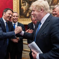 Prime Minister Matteo Renzi visits Lancaster House for the celebration of the 150th anniversary of Giuseppe Garibaldi&rsquo;s visit to London.<br /> In the photo: Matteo Renzi and Mayor of London, Boris Johnson