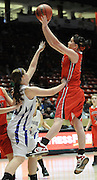 gbs030912x/SPORTS/Greg Sorber --  Corona's Kelly Gensler shoots over Elida's Reda Allison during the B Girls State Championship in the Pit on Friday, March 9, 2012. Elida beat Corona 59-41.