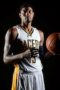 Indiana Pacers forward Paul George (13) poses for a portrait during the team's NBA basketball media day  in Indianapolis, Monday, Sept. 28, 2015. (AP Photo/AJ Mast)