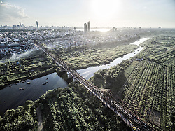 Aerial view of Long Bien bridge in Hanoi, Vietnam, Southeast Asia