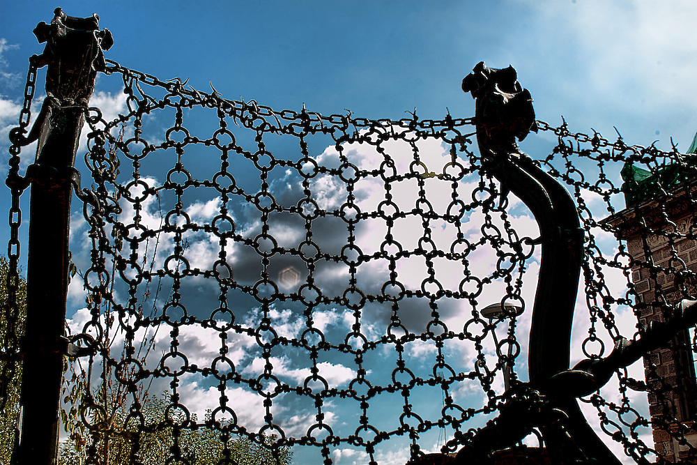 Chain Fence in Park Guell, Barcelona.
