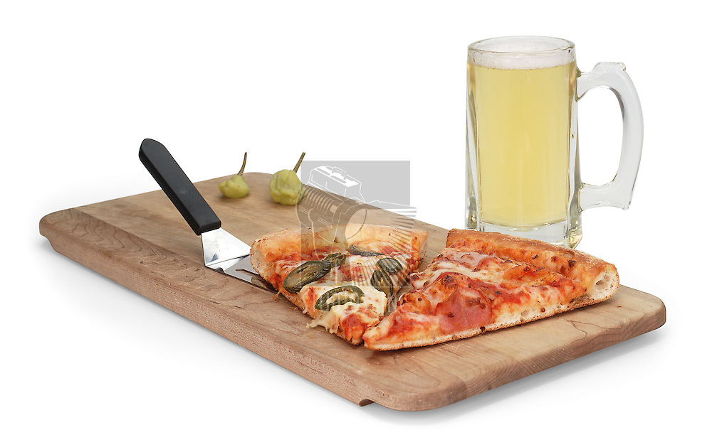 Beer & Pizza on white