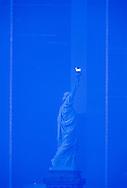 Statue of Liberty, Side shot, Manhattan, New York City, New York, USA, Twin Towers, World Trade Center, designed by Minoru Yamasaki, International Style II