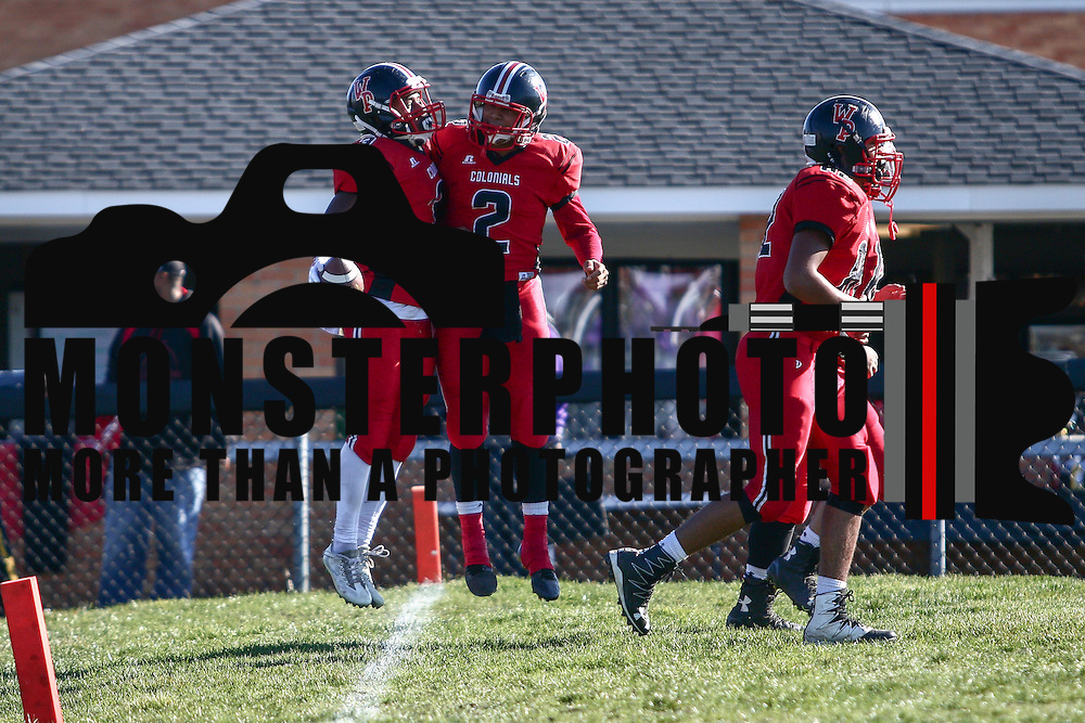William Penn defensive back Isaiah	Gaynor (9) celebrates with teammate Jahsan Gildersleeve (2) during a Week 9 DIAA football game between William Penn and Charter School of Wilmington Saturday, Nov. 05, 2016, at William Penn Stadium in New Castle.