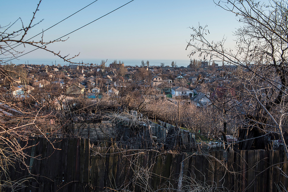 A coastal neighborhood on Sunday, March 8, 2015 in Mariupol, Ukraine. Photo by Brendan Hoffman, Freelance